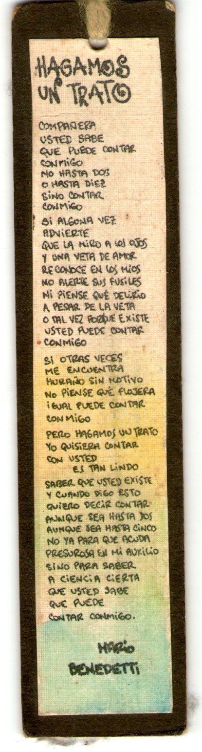 HAGAMOS UN TRATO de Mario Benedetti