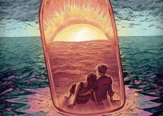 pareja-en-una-botella-en-el-mar